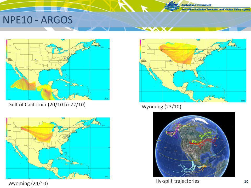 10 NPE10 - ARGOS Gulf of California (20/10 to 22/10) Wyoming (24/10) Wyoming (23/10) Hy-split trajectories