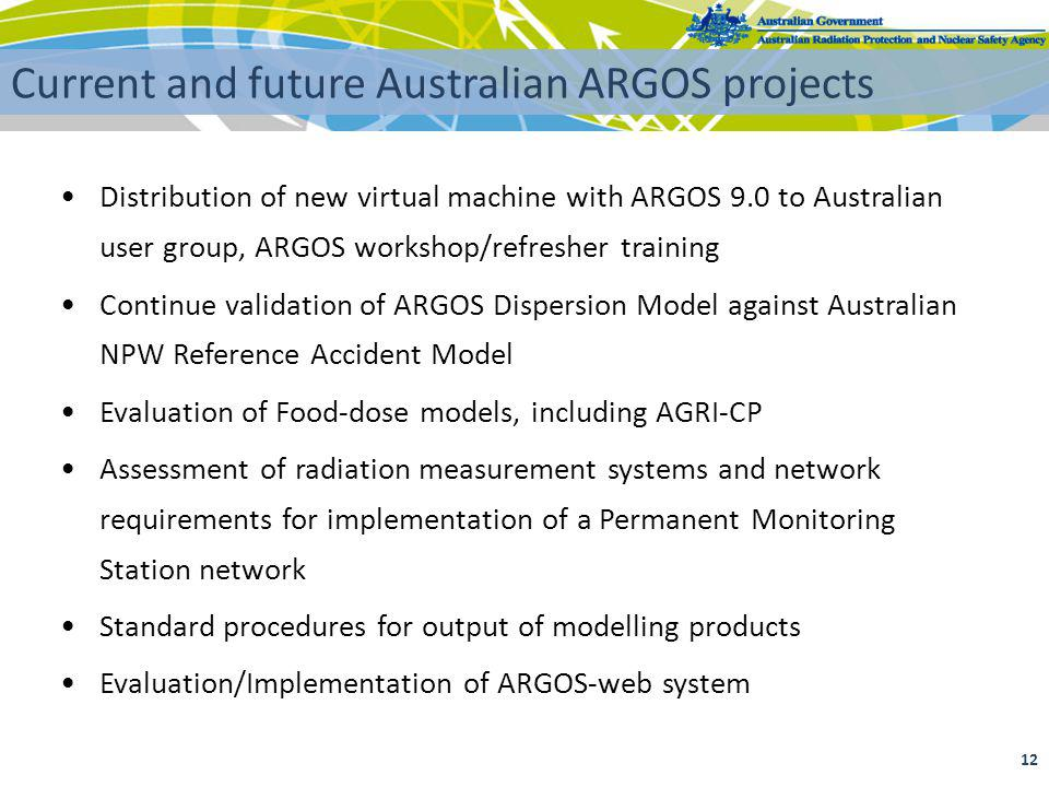 12 Current and future Australian ARGOS projects Distribution of new virtual machine with ARGOS 9.0 to Australian user group, ARGOS workshop/refresher