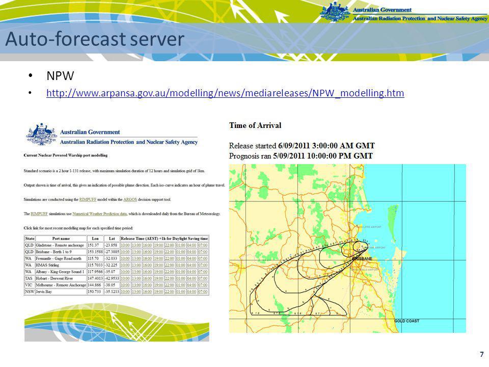 7 Auto-forecast server NPW http://www.arpansa.gov.au/modelling/news/mediareleases/NPW_modelling.htm