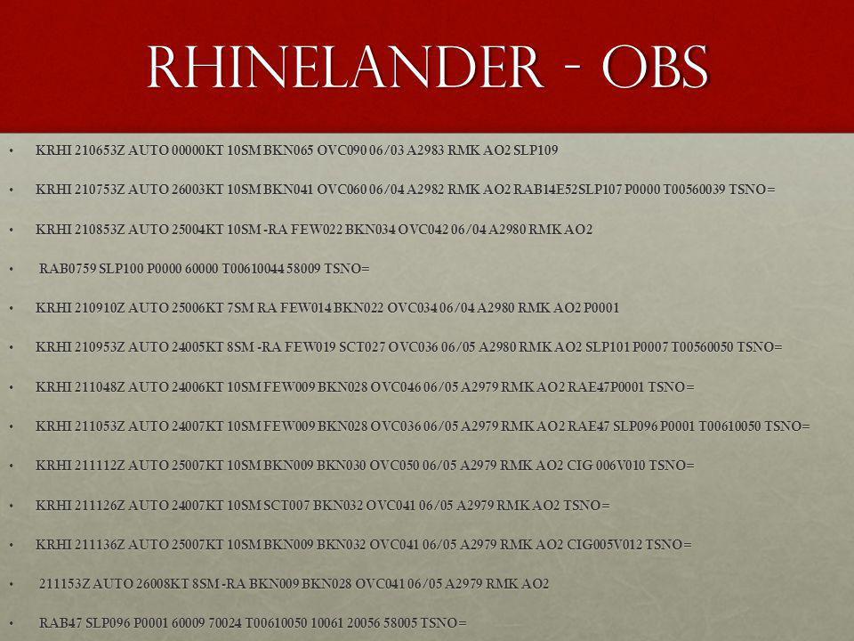 Rhinelander - OBS KRHI 210653Z AUTO 00000KT 10SM BKN065 OVC090 06/03 A2983 RMK AO2 SLP109 KRHI 210653Z AUTO 00000KT 10SM BKN065 OVC090 06/03 A2983 RMK
