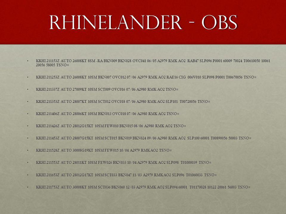 Rhinelander - OBS KRHI 211153Z AUTO 26008KT 8SM -RA BKN009 BKN028 OVC041 06/05 A2979 RMK AO2 RAB47 SLP096 P0001 60009 70024 T00610050 10061 20056 5800