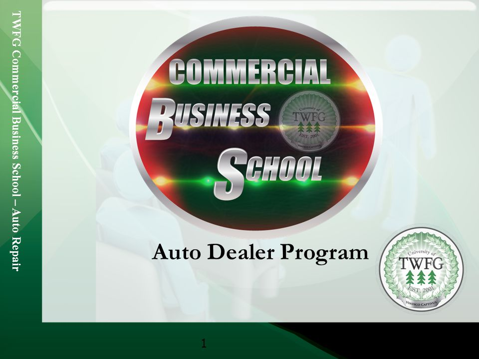 TWFG Commercial Business School – Auto Repair 2 TWFG Commercial Business School Retail & Service Independent Auto Dealer Program TWFG now has access an Independent Auto Dealer Program through Cornerstone Underwriting Partners (CUP) Program includes: Garage Liability Garagekeepers Dealers Open Lot Dealer Errors & Omissions Other Key Coverages