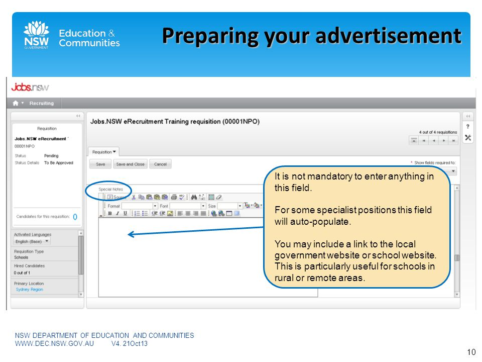 Preparing your advertisement It is not mandatory to enter anything in this field.