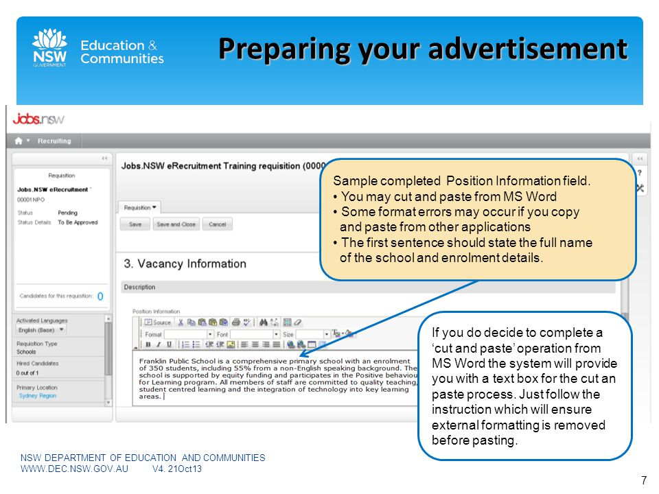 Preparing your advertisement Sample completed Position Information field.