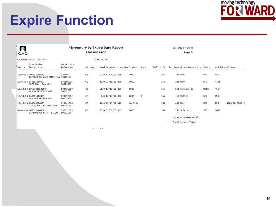 Expire Function 15
