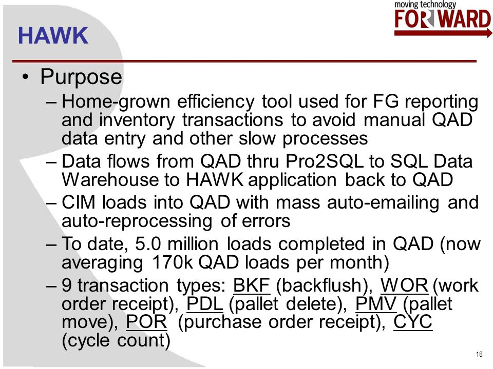 HAWK 18 Purpose –Home-grown efficiency tool used for FG reporting and inventory transactions to avoid manual QAD data entry and other slow processes –Data flows from QAD thru Pro2SQL to SQL Data Warehouse to HAWK application back to QAD –CIM loads into QAD with mass auto-emailing and auto-reprocessing of errors –To date, 5.0 million loads completed in QAD (now averaging 170k QAD loads per month) –9 transaction types: BKF (backflush), WOR (work order receipt), PDL (pallet delete), PMV (pallet move), POR (purchase order receipt), CYC (cycle count)