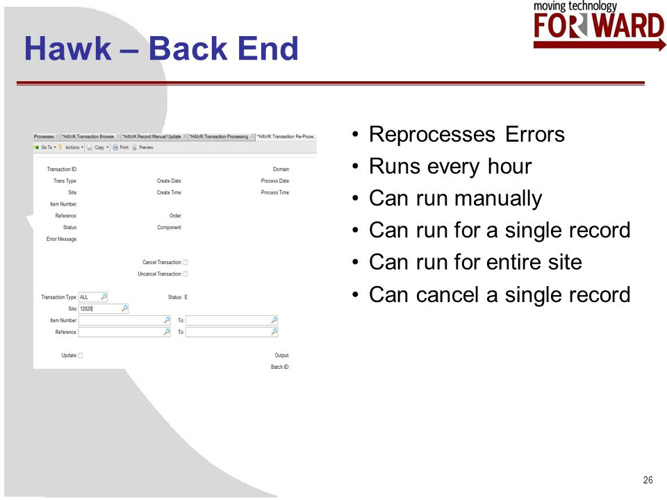 Hawk – Back End Reprocesses Errors Runs every hour Can run manually Can run for a single record Can run for entire site Can cancel a single record 26