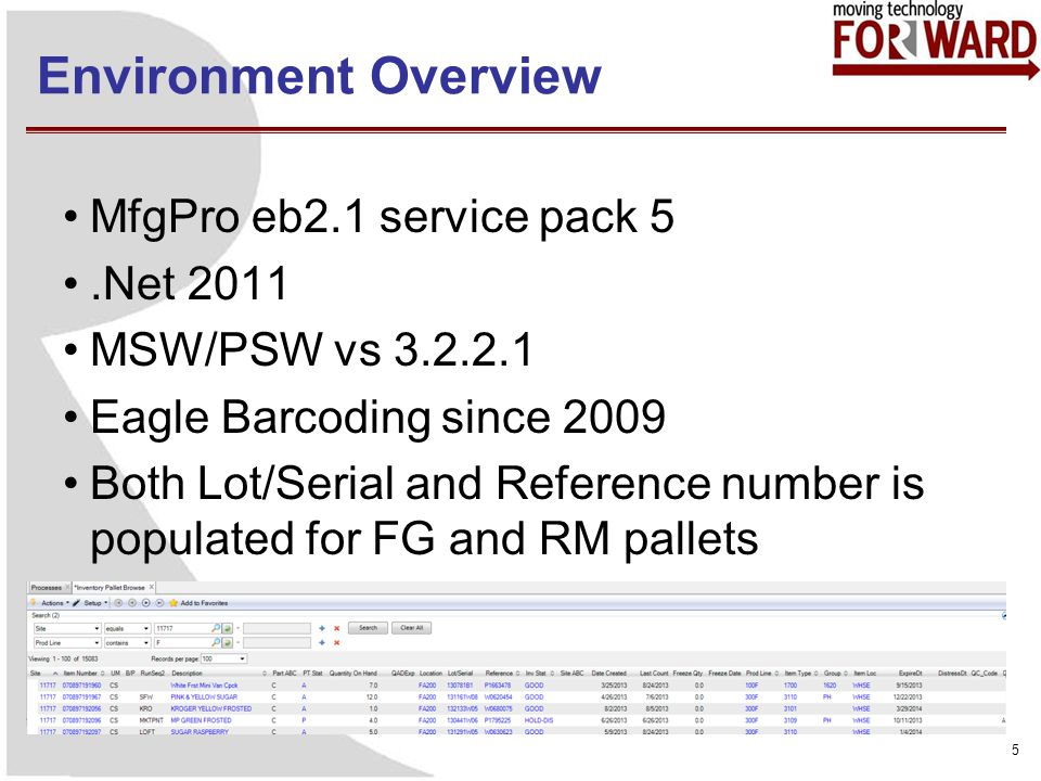 Environment Overview MfgPro eb2.1 service pack 5.Net 2011 MSW/PSW vs 3.2.2.1 Eagle Barcoding since 2009 Both Lot/Serial and Reference number is populated for FG and RM pallets 5