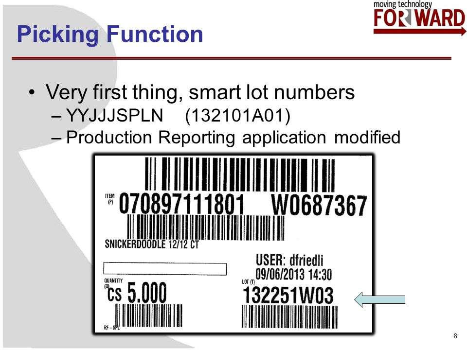 Picking Function 8 Very first thing, smart lot numbers –YYJJJSPLN (132101A01) –Production Reporting application modified