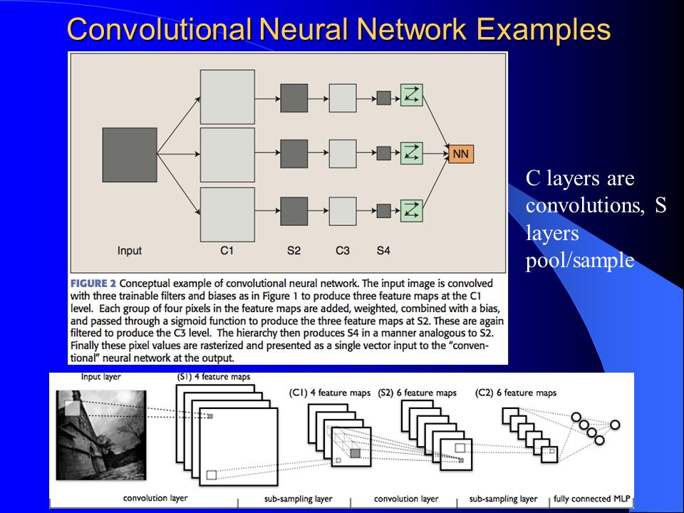 Convolutional Neural Network Examples 7 C layers are convolutions, S layers pool/sample