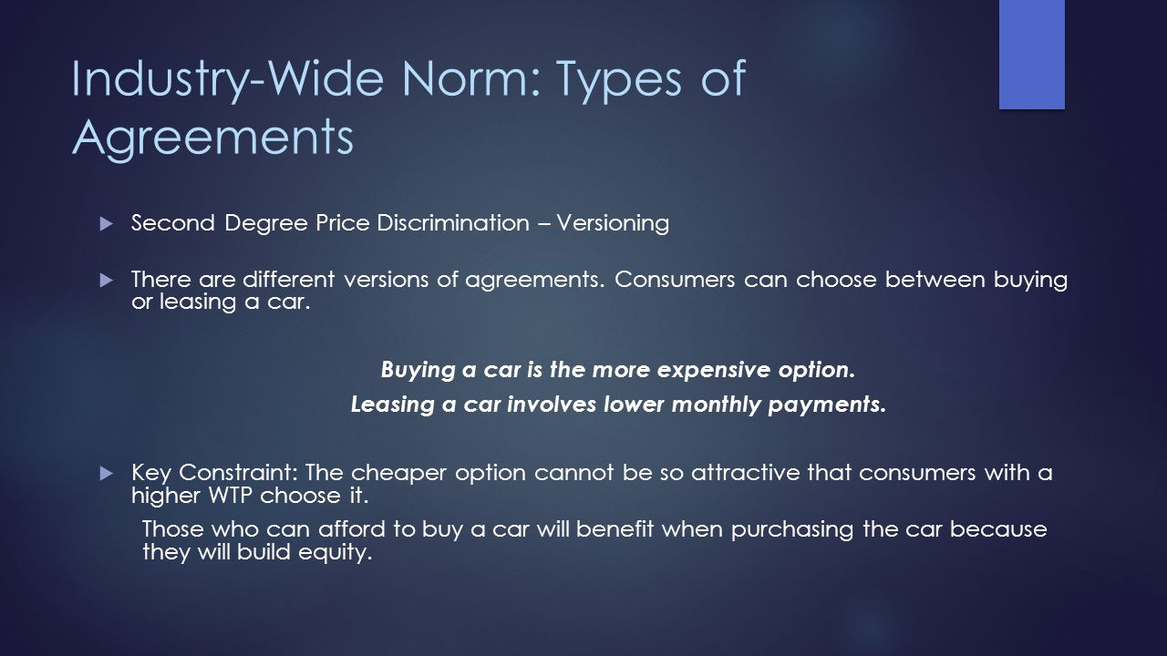 Industry-Wide Norm: Types of Agreements Second Degree Price Discrimination – Versioning There are different versions of agreements. Consumers can choo