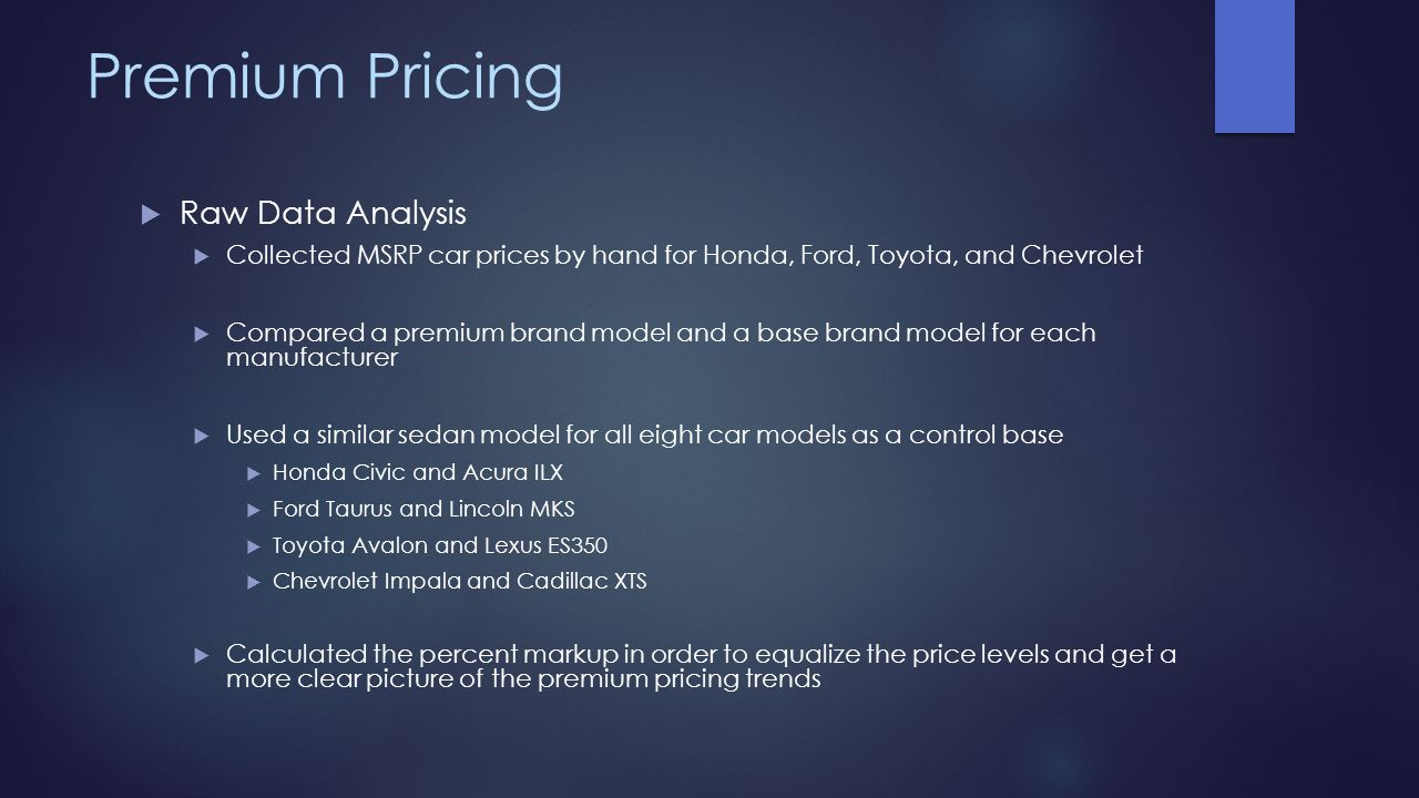 Premium Pricing Raw Data Analysis Collected MSRP car prices by hand for Honda, Ford, Toyota, and Chevrolet Compared a premium brand model and a base b