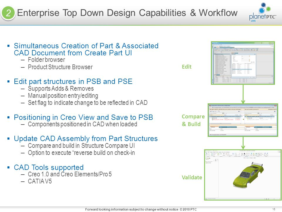 16 Simultaneous Creation of Part & Associated CAD Document from Create Part UI – Folder browser – Product Structure Browser Edit part structures in PSB and PSE – Supports Adds & Removes – Manual position entry/editing – Set flag to indicate change to be reflected in CAD Positioning in Creo View and Save to PSB – Components positioned in CAD when loaded Update CAD Assembly from Part Structures – Compare and build in Structure Compare UI – Option to execute reverse build on check-in CAD Tools supported – Creo 1.0 and Creo Elements/Pro 5 – CATIA V5 Enterprise Top Down Design Capabilities & Workflow Edit Compare & Build Validate Forward looking information subject to change without notice © 2010 PTC 2 2