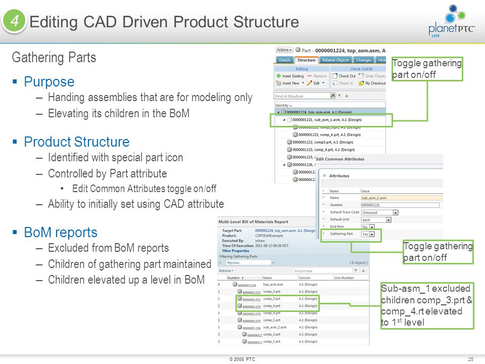 25 Purpose – Handing assemblies that are for modeling only – Elevating its children in the BoM Product Structure – Identified with special part icon – Controlled by Part attribute Edit Common Attributes toggle on/off – Ability to initially set using CAD attribute BoM reports – Excluded from BoM reports – Children of gathering part maintained – Children elevated up a level in BoM Editing CAD Driven Product Structure Gathering Parts © 2008 PTC Sub-asm_1 excluded children comp_3.prt & comp_4.rt elevated to 1 st level Toggle gathering part on/off 4 4