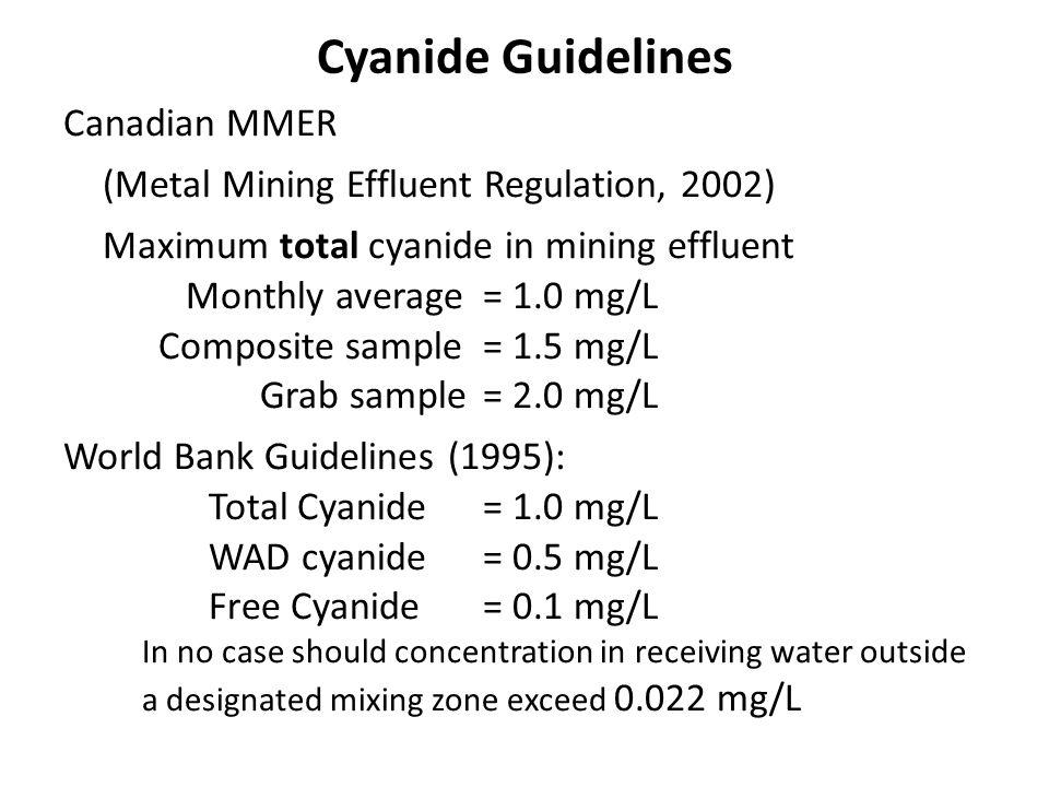 Cyanide Guidelines Canadian MMER (Metal Mining Effluent Regulation, 2002) Maximum total cyanide in mining effluent Monthly average= 1.0 mg/L Composite