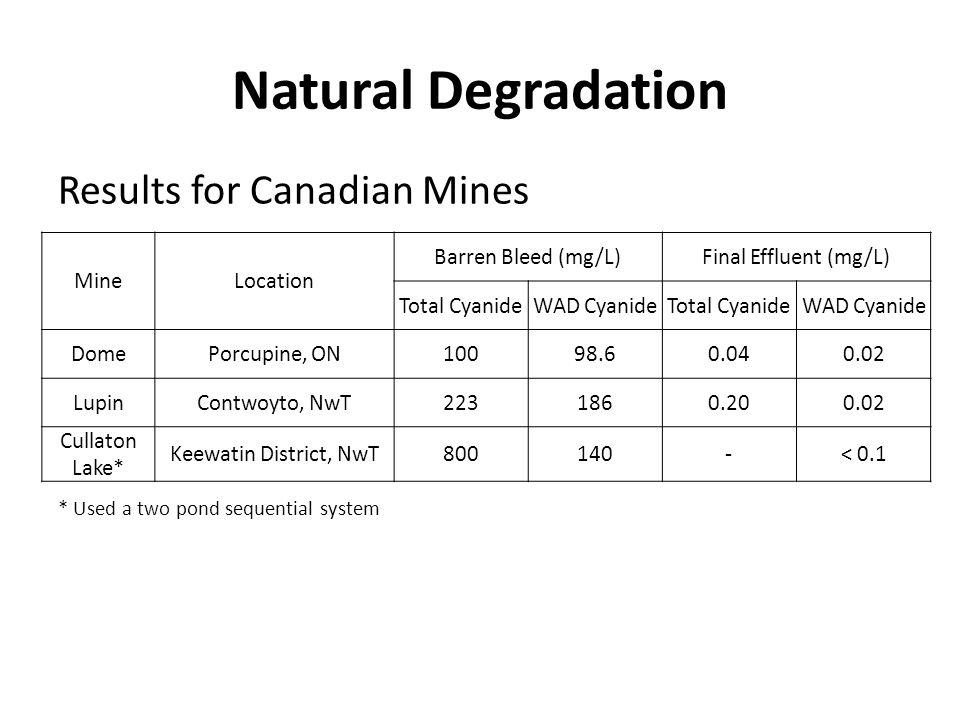 Natural Degradation Results for Canadian Mines * Used a two pond sequential system MineLocation Barren Bleed (mg/L)Final Effluent (mg/L) Total Cyanide