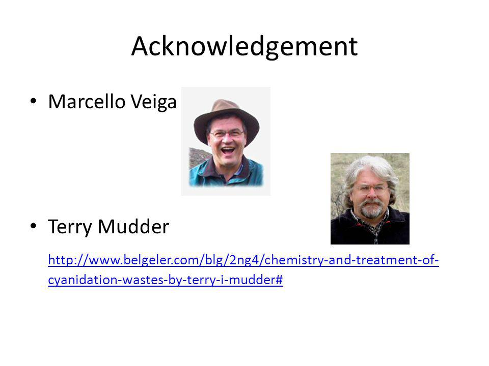 Acknowledgement Marcello Veiga Terry Mudder http://www.belgeler.com/blg/2ng4/chemistry-and-treatment-of- cyanidation-wastes-by-terry-i-mudder#