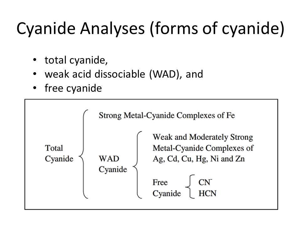 Cyanide Analyses (forms of cyanide) total cyanide, weak acid dissociable (WAD), and free cyanide