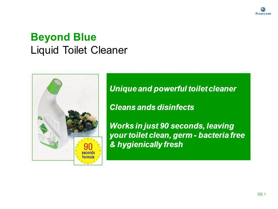 Beyond Blue Liquid Toilet Cleaner Unique and powerful toilet cleaner Cleans ands disinfects Works in just 90 seconds, leaving your toilet clean, germ
