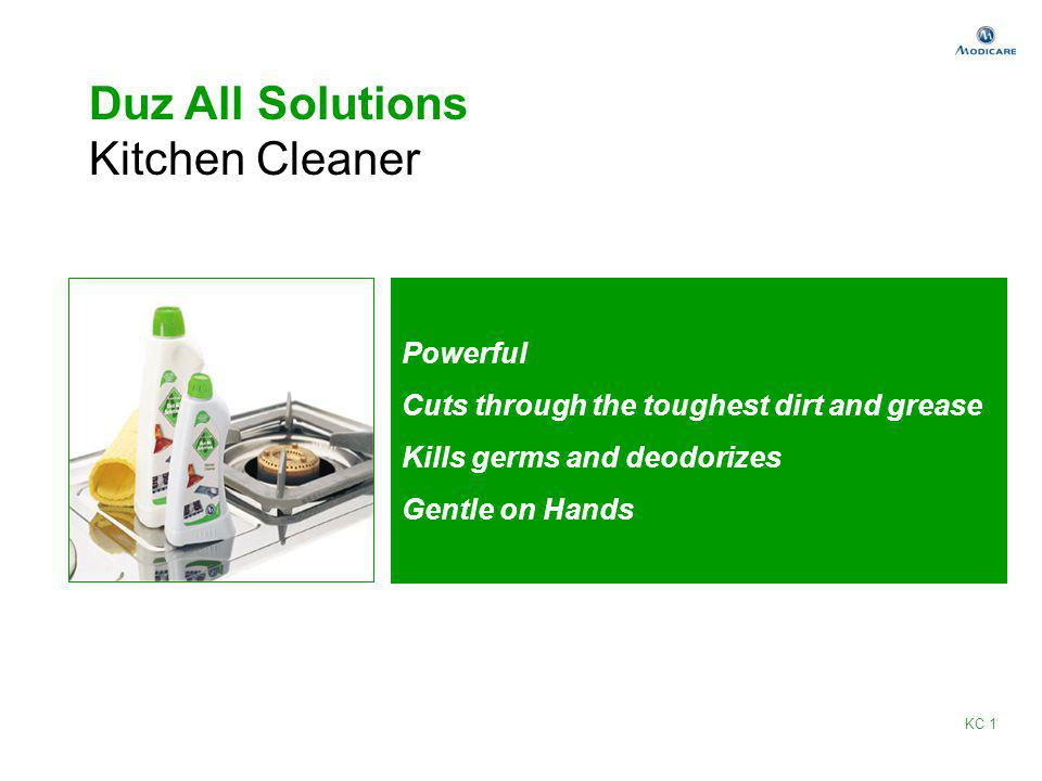 Duz All Solutions Kitchen Cleaner Powerful Cuts through the toughest dirt and grease Kills germs and deodorizes Gentle on Hands KC 1