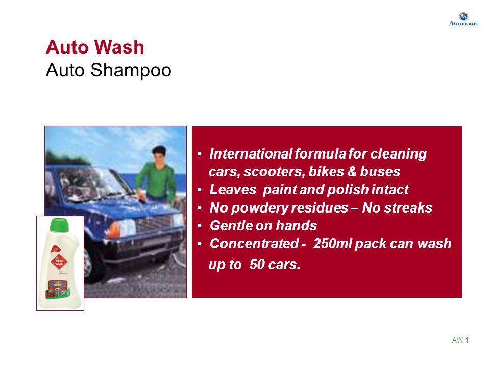 Auto Wash Auto Shampoo International formula for cleaning cars, scooters, bikes & buses Leaves paint and polish intact No powdery residues – No streak