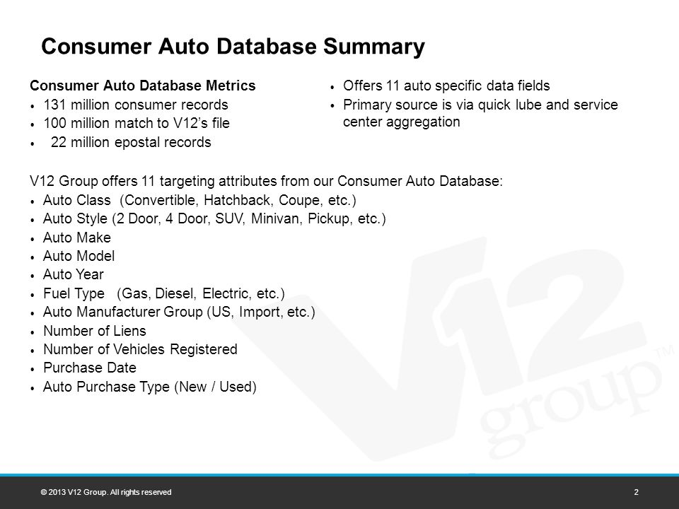 Consumer Auto Database Summary © 2013 V12 Group. All rights reserved2 Consumer Auto Database Metrics 131 million consumer records 100 million match to
