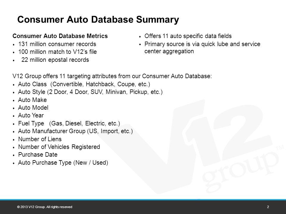 Consumer Auto Database Summary © 2013 V12 Group.