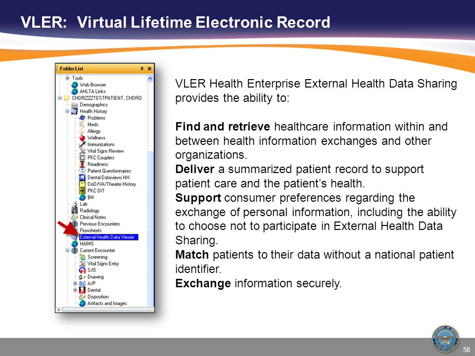 VLER: Virtual Lifetime Electronic Record VLER Health Enterprise External Health Data Sharing provides the ability to: Find and retrieve healthcare inf