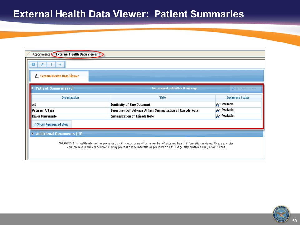 External Health Data Viewer: Patient Summaries 59
