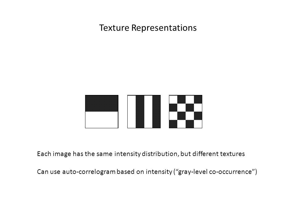 Texture Representations Each image has the same intensity distribution, but different textures Can use auto-correlogram based on intensity (gray-level co-occurrence)