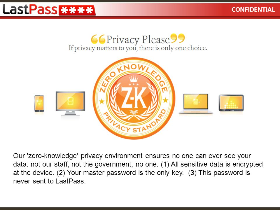 CONFIDENTIAL Our 'zero-knowledge' privacy environment ensures no one can ever see your data: not our staff, not the government, no one. (1) All sensit