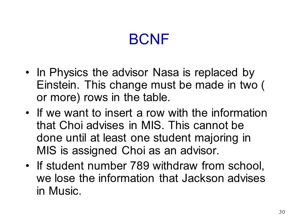 30 BCNF In Physics the advisor Nasa is replaced by Einstein. This change must be made in two ( or more) rows in the table. If we want to insert a row