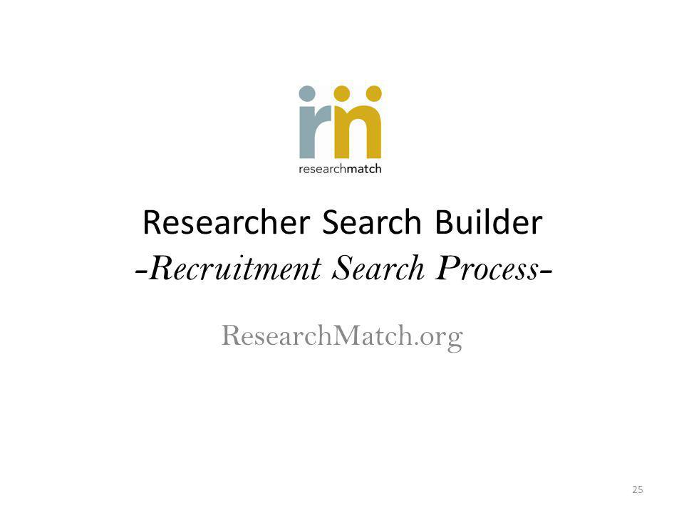 Researcher Search Builder -Recruitment Search Process- ResearchMatch.org 25