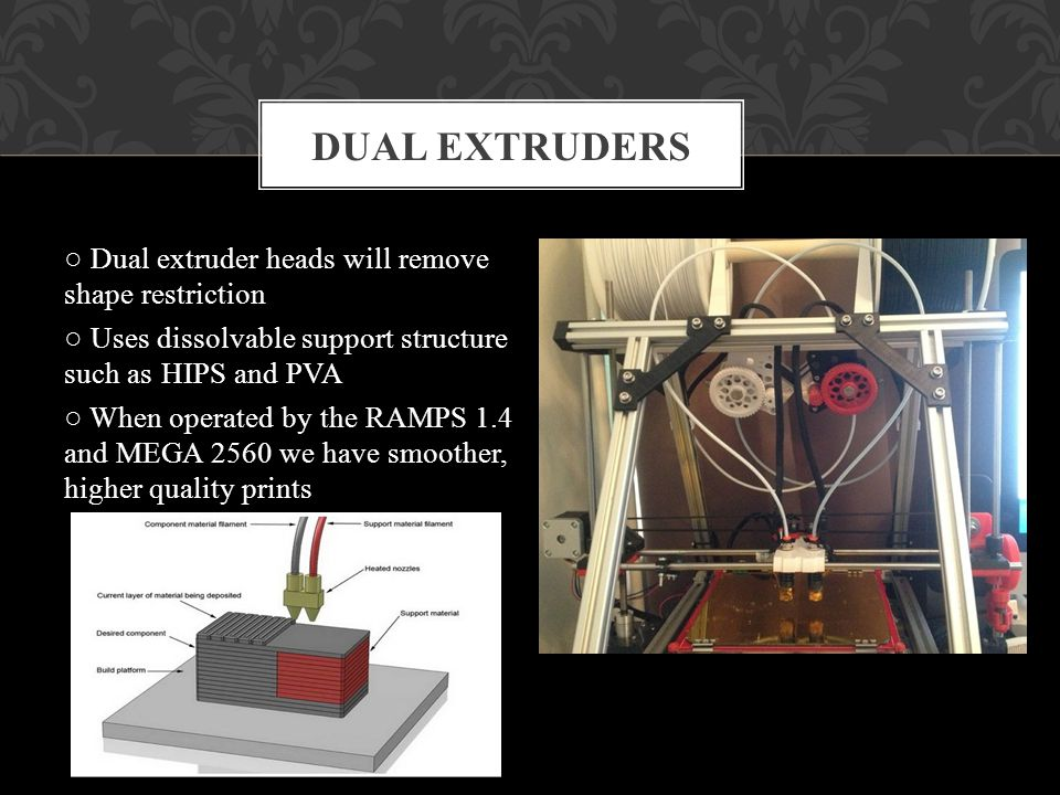 Dual extruder heads will remove shape restriction Uses dissolvable support structure such as HIPS and PVA When operated by the RAMPS 1.4 and MEGA 2560 we have smoother, higher quality prints DUAL EXTRUDERS