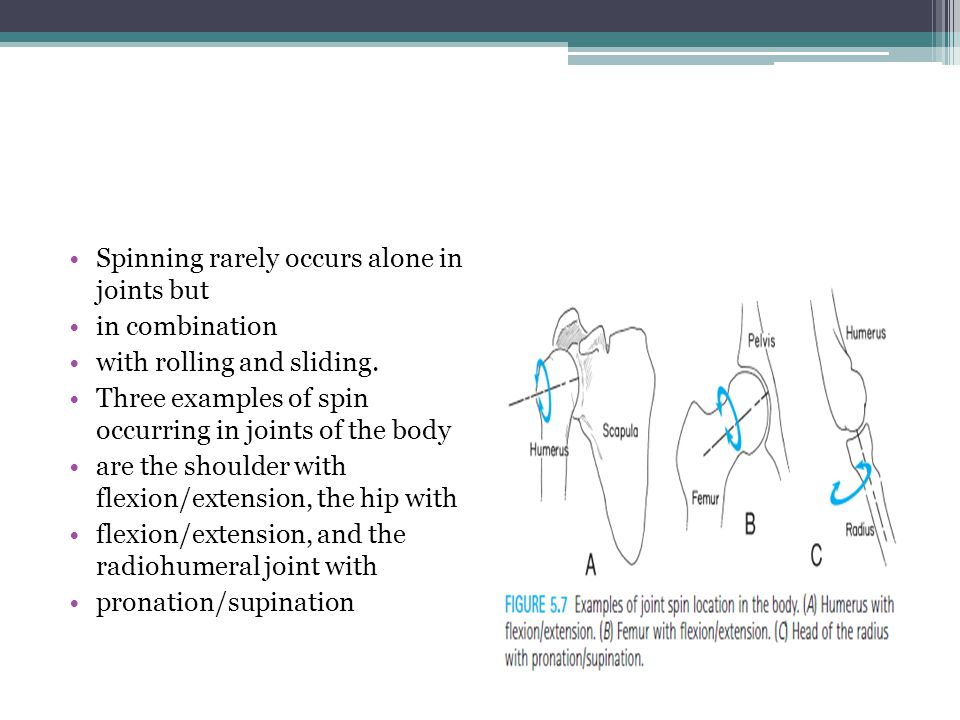 Spinning rarely occurs alone in joints but in combination with rolling and sliding. Three examples of spin occurring in joints of the body are the sho