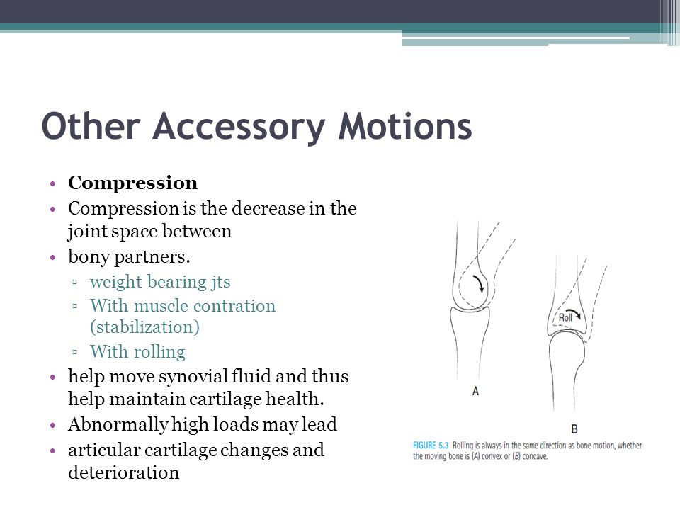 Other Accessory Motions Compression Compression is the decrease in the joint space between bony partners. weight bearing jts With muscle contration (s