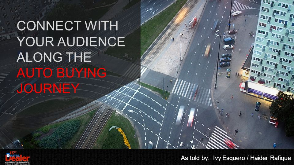 CONNECT WITH YOUR AUDIENCE ALONG THE AUTO BUYING JOURNEY As told by: Ivy Esquero / Haider Rafique