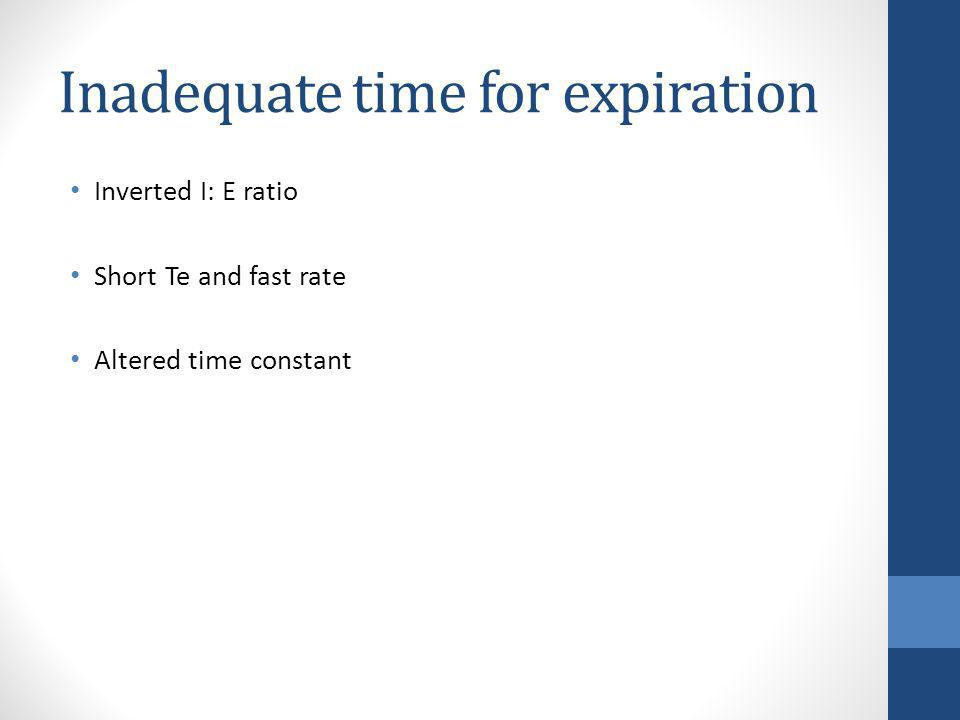 Inadequate time for expiration Inverted I: E ratio Short Te and fast rate Altered time constant