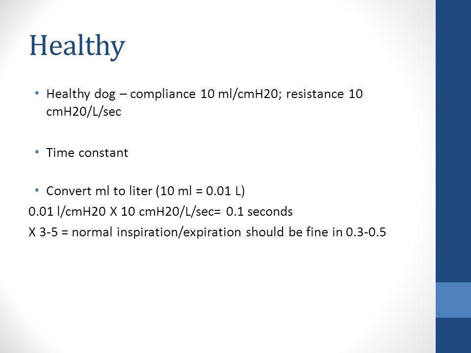 Healthy Healthy dog – compliance 10 ml/cmH20; resistance 10 cmH20/L/sec Time constant Convert ml to liter (10 ml = 0.01 L) 0.01 l/cmH20 X 10 cmH20/L/s