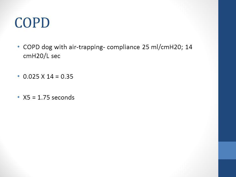 COPD COPD dog with air-trapping- compliance 25 ml/cmH20; 14 cmH20/L sec 0.025 X 14 = 0.35 X5 = 1.75 seconds