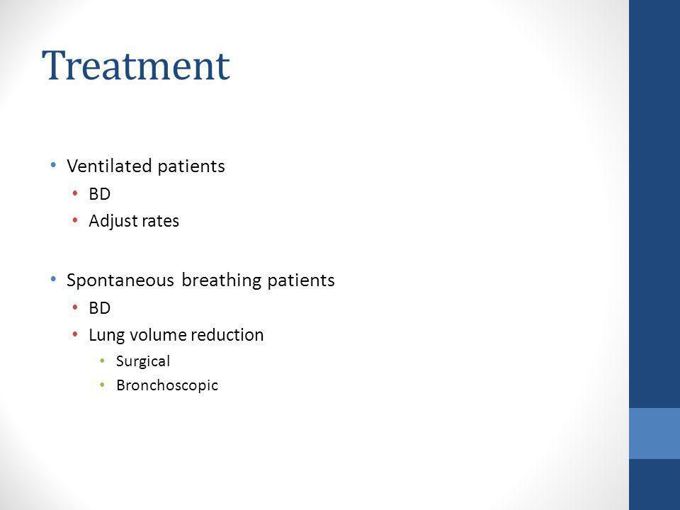 Treatment Ventilated patients BD Adjust rates Spontaneous breathing patients BD Lung volume reduction Surgical Bronchoscopic