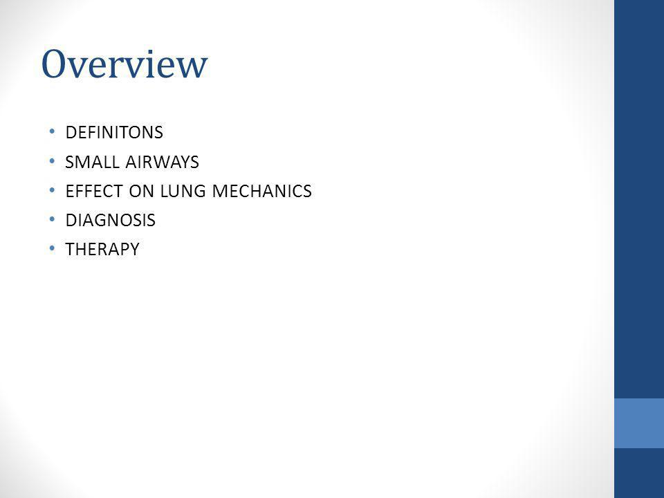 Overview DEFINITONS SMALL AIRWAYS EFFECT ON LUNG MECHANICS DIAGNOSIS THERAPY