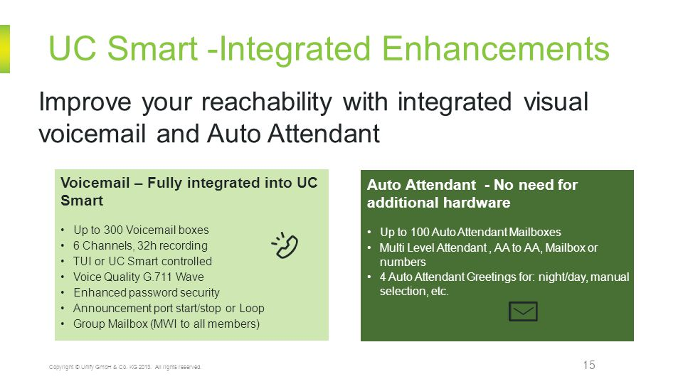 UC Smart -Integrated Enhancements 15 Copyright © Unify GmbH & Co. KG 2013. All rights reserved. Improve your reachability with integrated visual voice