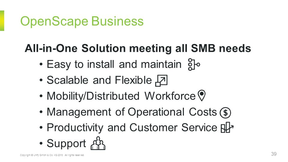 OpenScape Business 39 Copyright © Unify GmbH & Co. KG 2013. All rights reserved. All-in-One Solution meeting all SMB needs Easy to install and maintai