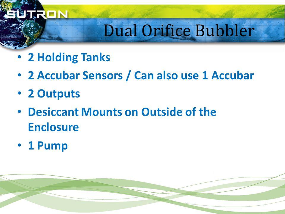 Dual Orifice Bubbler 2 Holding Tanks 2 Accubar Sensors / Can also use 1 Accubar 2 Outputs Desiccant Mounts on Outside of the Enclosure 1 Pump