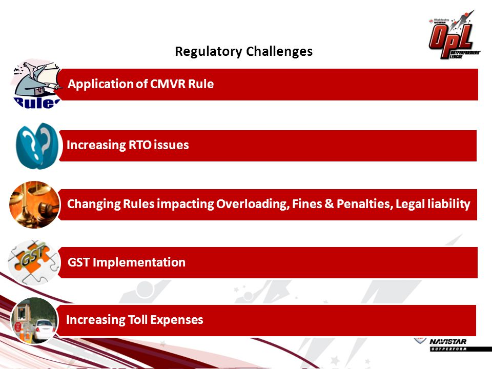 Regulatory Challenges Application of CMVR Rule Increasing RTO issues Changing Rules impacting Overloading, Fines & Penalties, Legal liability GST Implementation Increasing Toll Expenses