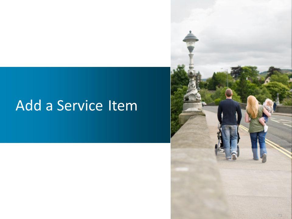 Add a Service Item 71