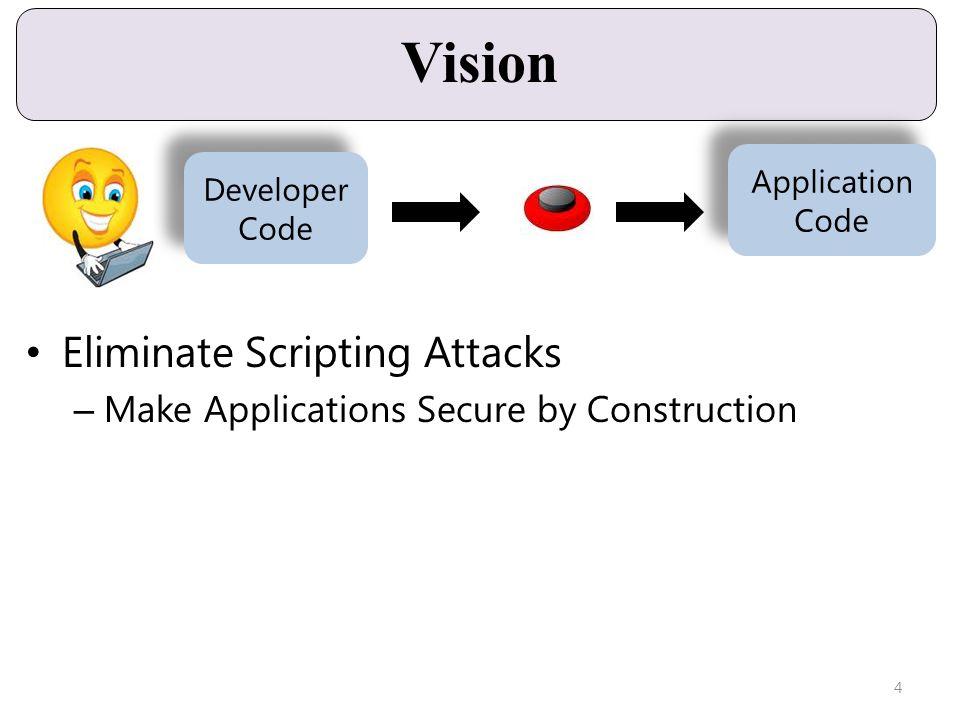Vision Eliminate Scripting Attacks – Make Applications Secure by Construction Developer Code Developer Code Application Code Application Code 4