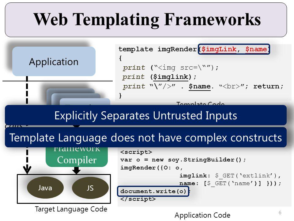 var o = new soy.StringBuilder(); imgRender({O: o, imglink: $_GET(extlink), name: [$_GET(name)] })); document.write(o); Web Templating Frameworks Templating Framework Compiler Java JS Application calls Target Language Code Template Application Code template imgRender($imgLink, $name) { print (<img src=\); print ($imglink); print \/>.