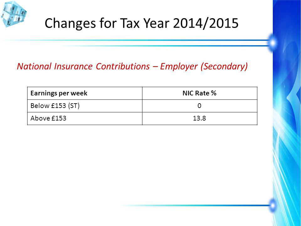 Changes for Tax Year 2014/2015 National Insurance Contributions – Employer (Secondary) Earnings per weekNIC Rate % Below £153 (ST)0 Above £15313.8